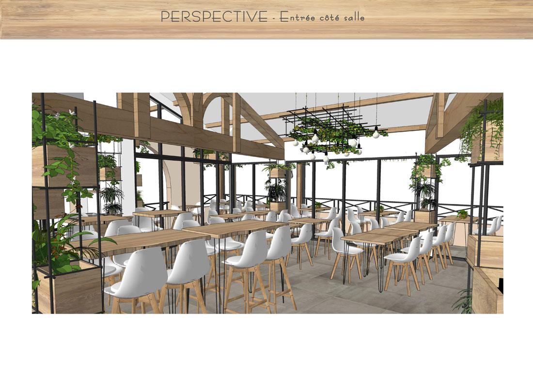 modélisation 3D accueil du restaurant
