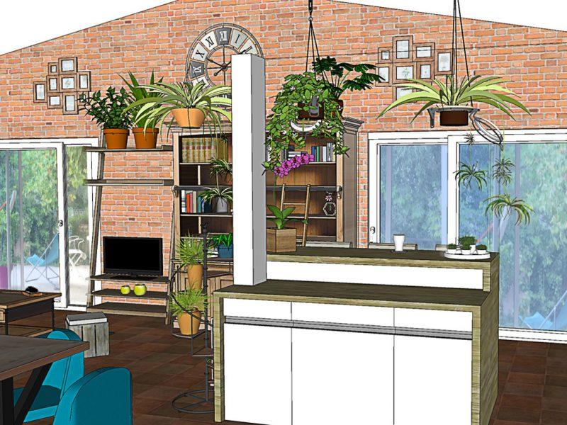 3D extension cuisine et salon