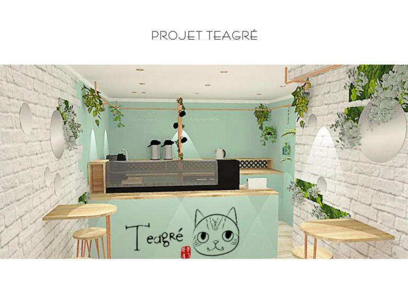 Visuel 3D du bar bubble tea Teagré , rénové dans une ambiance végétale et fraiche par sb design concept