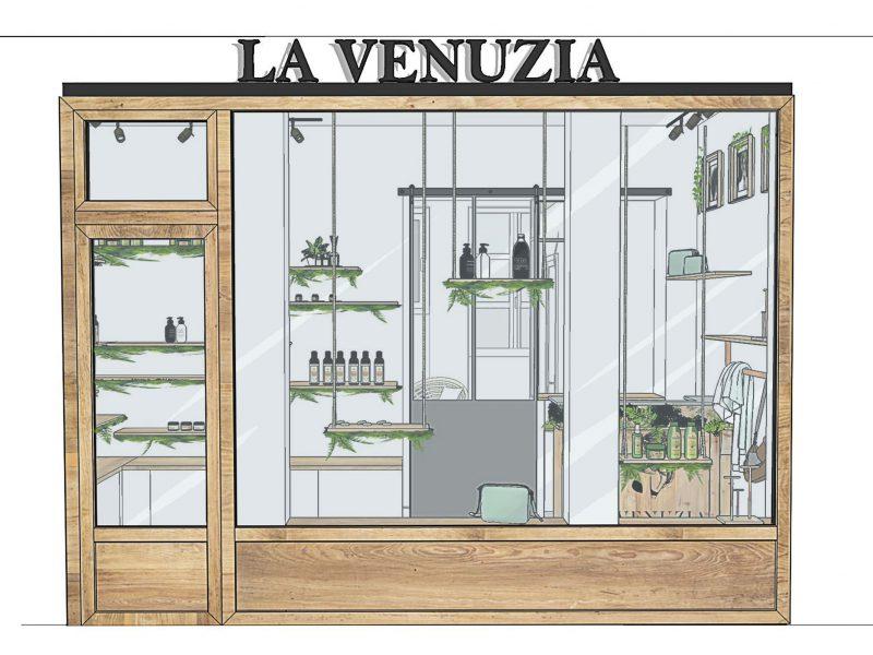 Vitrine magasin de cosmétique bio décoration végétale