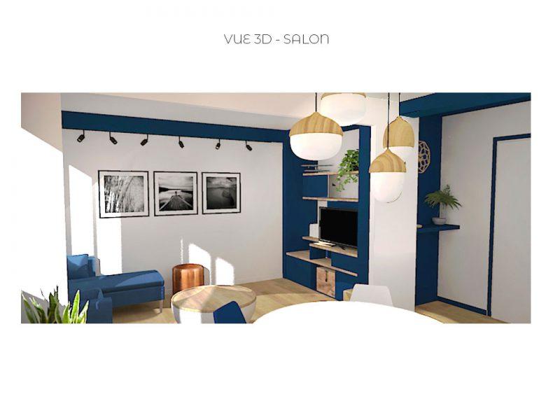 Vue 3D pour un projet d'aménagement de salon dans une ambiance moderne avec rangement sur mesure réalisé par sbdesign-concept